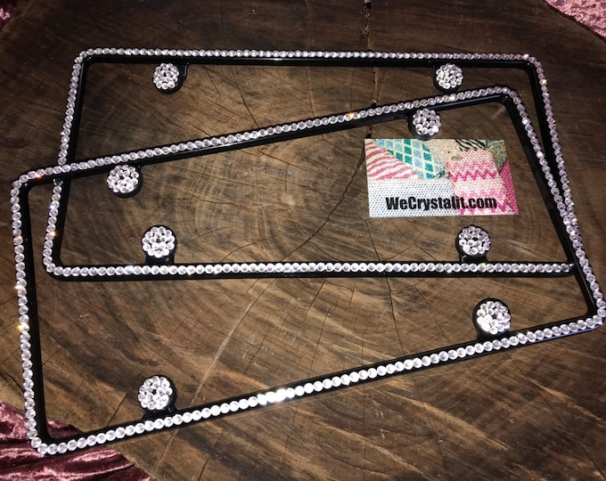 2 1 Row Clear Diamond on Black Frame Crystal Sparkle Auto Bling Rhinestone  License Plate Frame with Swarovski Elements Made by WeCrystalIt