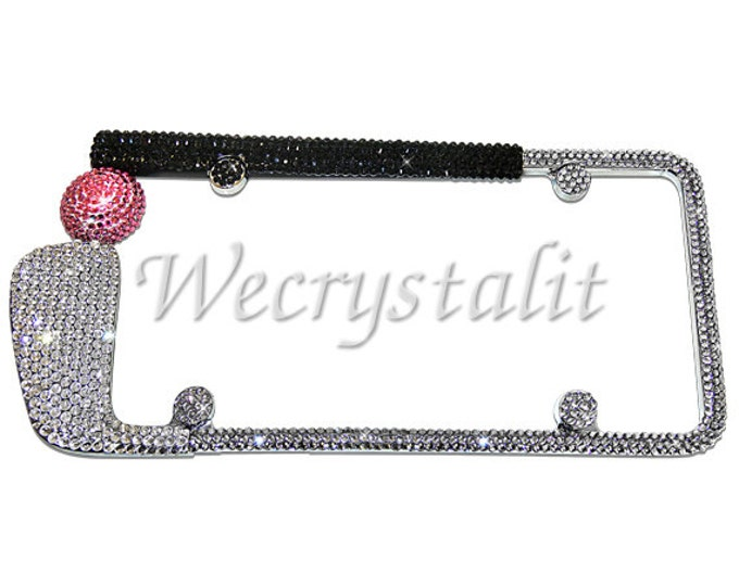 Golf Club Pink Ball Crystal Sparkle Auto Bling Rhinestone License Plate Frame with Swarovski Elements Made by WeCrystalIt