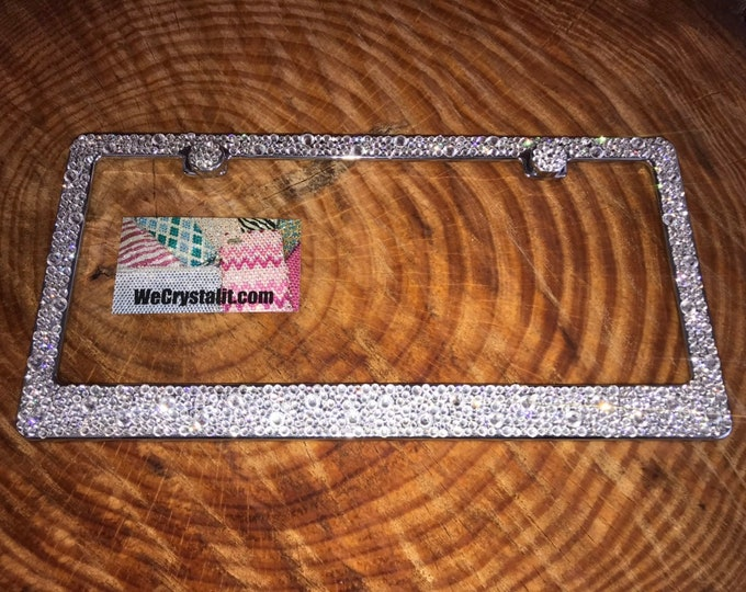 Swarovski Clear Crystals Bumpie Diamond on Silver Frame Crystal Sparkle Auto Bling Rhinestone  License Plate Frame Made by WeCrystalIt
