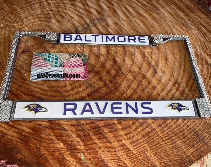 Baltimore Ravens License Crystal Sport Silver Frame Sparkle Auto Bling Rhinestone Plate Frame with Swarovski Elements Made by WeCrystalit