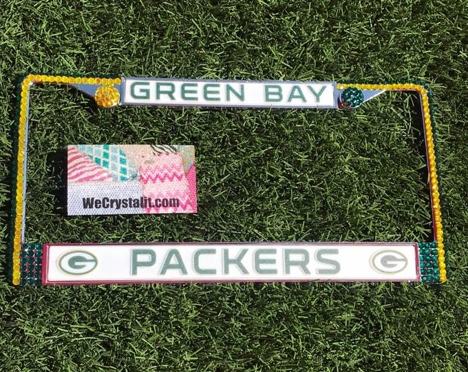 Green Bay Packers Football License Crystal Sport Silver Frame Sparkle Auto Bling Rhinestone Plate Frame with Swarovski Elements Made by WeCr