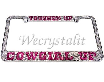 COWGIRL UP Crystal Sparkle Auto Bling Rhinestone  License Plate Frame with Swarovski Elements Made by WeCrystalIt