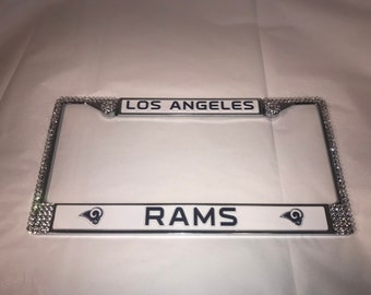 LA Rams License Crystal New Orleans Football  Frame Sparkle Auto Bling Rhinestone Plate Frame with Swarovski Elements Made by WeCrystalIt