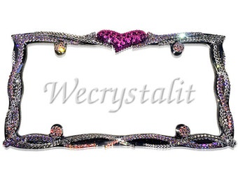 Rocker Heart Ab & Clear Crystal Sparkle Auto Bling Rhinestone License Plate Frame with Swarovski Elements Made by WeCrystalIt