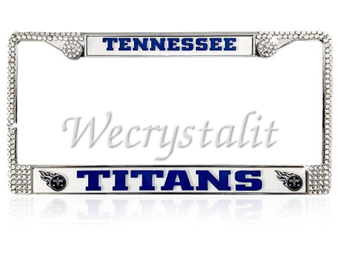 Titans License Crystal Tennessee Sport Silver Frame Sparkle Auto Bling Rhinestone Plate Frame with Swarovski Elements Made by WeCrystalIt