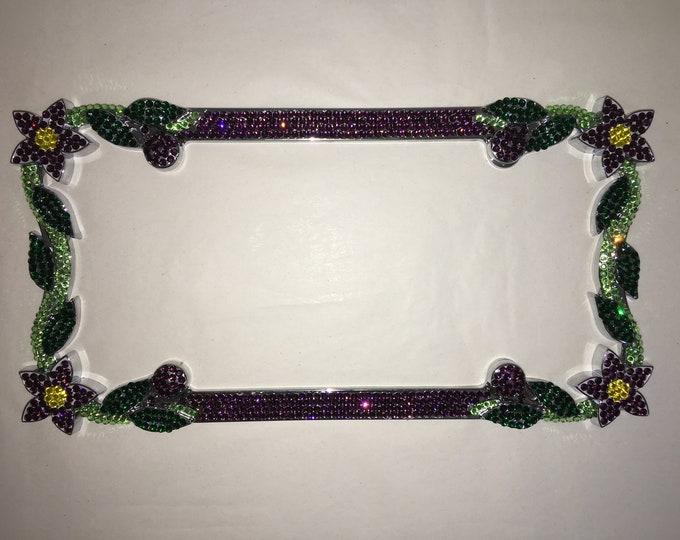 Purple Amethyst  Daisy Flower Crystal Sparkle Auto Bling Rhinestone  License Plate Frame with Swarovski Elements Made by WeCrystalIt