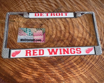 Red Wings Detroit Sport Silver Frame Crystal Sparkle Auto Bling Rhinestone License Plate Frame with Swarovski Elements Made by WeCrystalIt