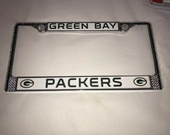 PACKERS Green Bay License Crystal  Sport Silver Frame Sparkle Auto Bling Rhinestone Plate Frame with Swarovski Elements Made by WeCrystalIt