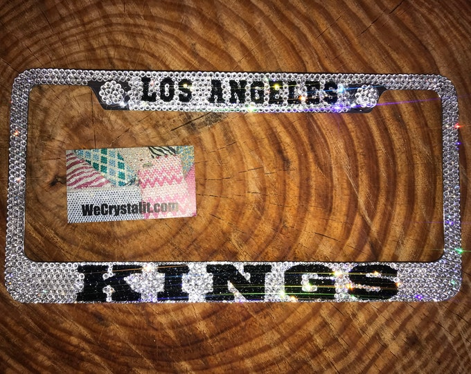 LOS ANGELES KINGS Hockey Crystal Sparkle Auto Bling Rhinestone  License Plate Frame with Swarovski Elements Made by WeCrystalIt