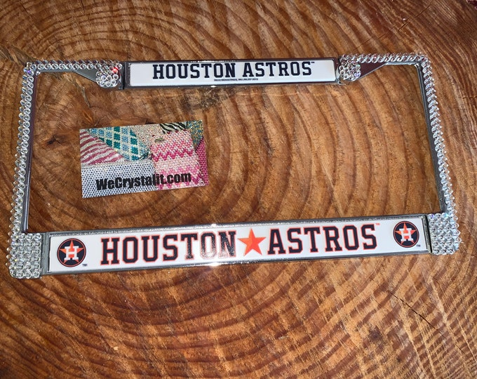 Houston Astros License Crystal Sport Silver Frame Sparkle Auto Bling Rhinestone Plate Frame with Swarovski Elements Made by WeCrystalit