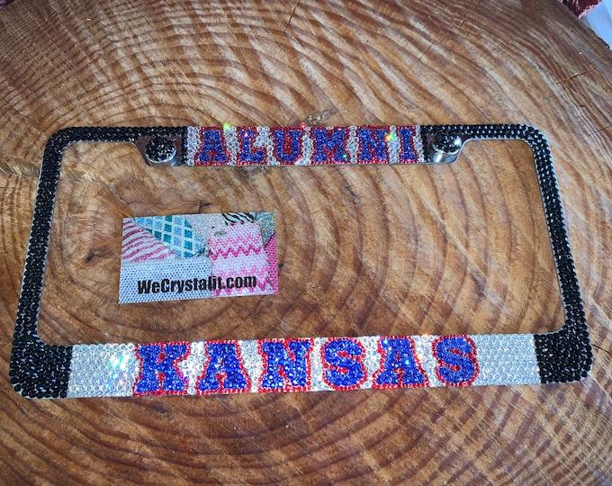Kansas Alumni Crystal Sparkle Auto Bling Rhinestone  License Plate Frame with Swarovski Elements Made by WeCrystalIt