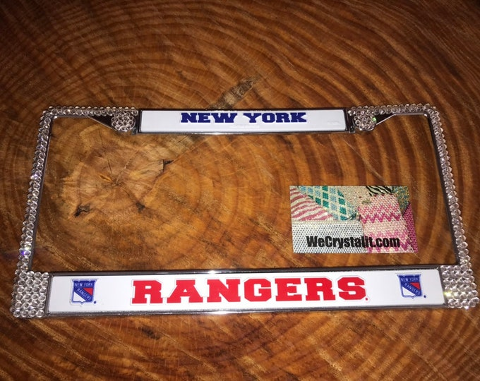 Rangers License Crystal New York Sport Silver Frame Sparkle Auto Bling Rhinestone Plate Frame with Swarovski Elements Made by WeCrystalIt