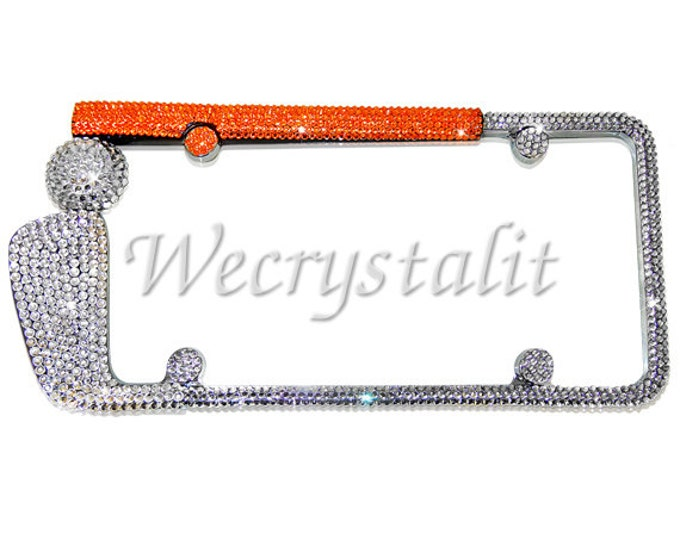 Golf Club Ornage Handle Crystal Sparkle Auto Bling Rhinestone License Plate Frame with Swarovski Elements Made by WeCrystalIt