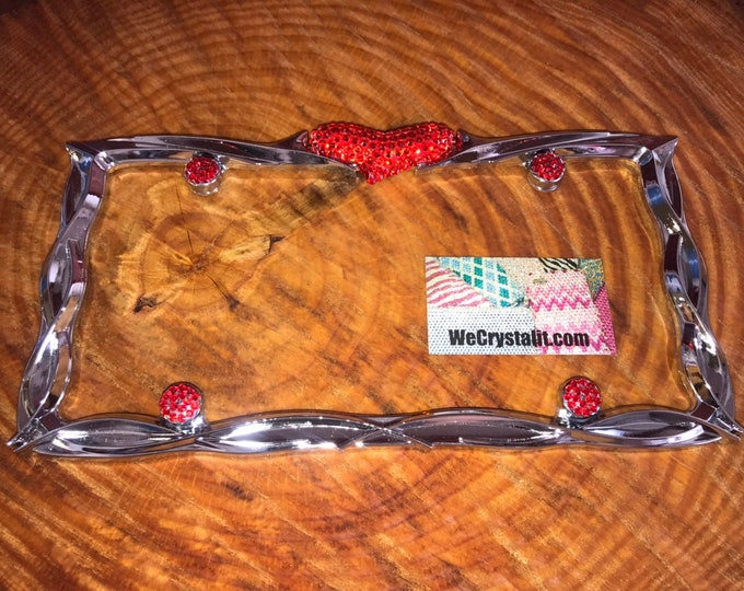 Red Rocker Heart Crystal Sparkle Auto Bling Rhinestone  License Plate Frame with Swarovski Elements Made by WeCrystalIt