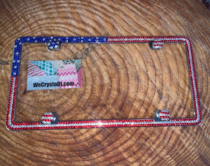 American Flag Crystal Sparkle Auto Bling Rhinestone License Plate Frame with Swarovski Elements Made by WeCrystalIt