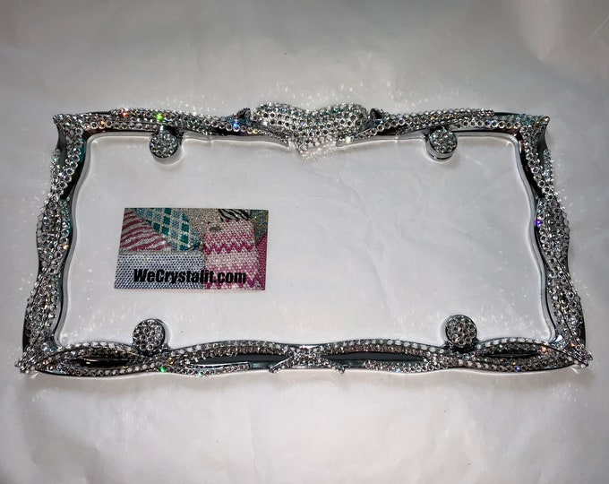 Rocker Heart Crystal Sparkle Auto Bling Rhinestone  License Plate Frame with Swarovski Elements Made by WeCrystalIt