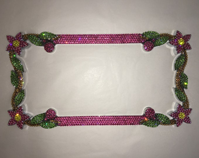 Rose Pink Daisy Flower Crystal Sparkle Auto Bling Rhinestone  License Plate Frame with Swarovski Elements Made by WeCrystalIt