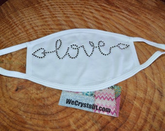 Love Gray Crystal Rhinestone Face Mask Filter Layer Adult & Teen 100% Cotton 2 layers USA Hand Made Reusable Washable Facemask Fast Shipping