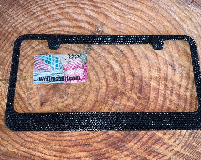 All Jet Black stone Crystal Sparkle Auto Bling Rhinestone  License Plate Frame with Swarovski Elements Made by WeCrystalIt