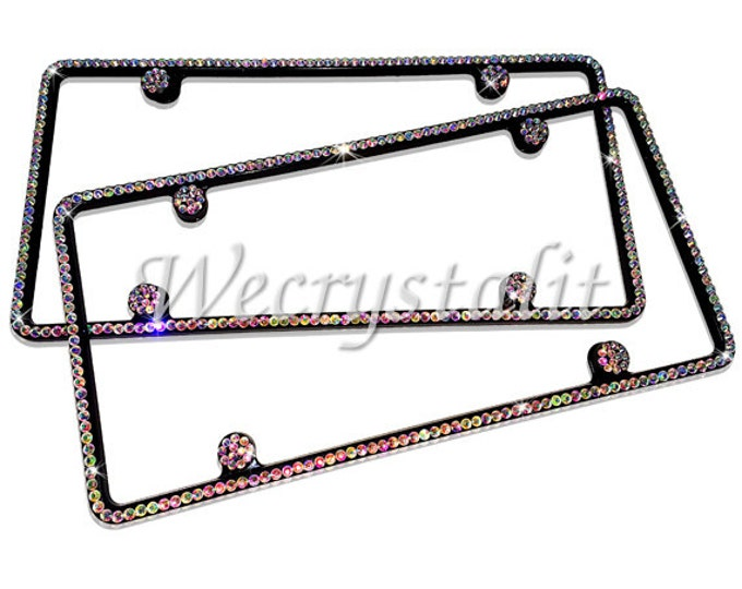 Set 2  AB Effect Black Frame Set 1 Row Crystal Sparkle Auto Bling Rhinestone License Plate Frame with Swarovski Elements Made by WeCrystalIt