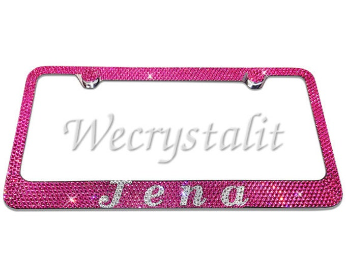 Your Name Crystal Sparkle Auto Bling Rhinestone License Plate Frame with Swarovski Crystal Elements Made by WeCrystalIt