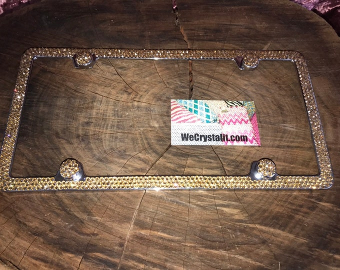 Gold on Silver Frame 3 Row Crystal Sparkle Auto Bling Rhinestone License Plate Frame with Swarovski Elements Made by WeCrystalIt