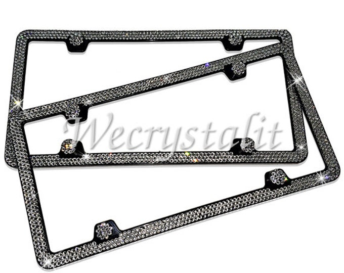 Set 2  Clear on Silver Frame 3 Row Crystal Sparkle Auto Bling Rhinestone License Plate Frame with Swarovski Elements Made by WeCrystalIt