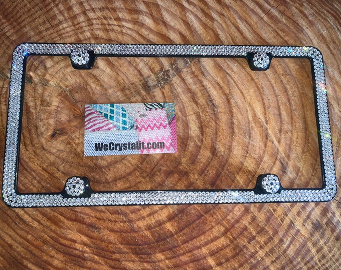 AB Clear Diamond on Black Frame 3 Row Crystal Sparkle Auto Bling Rhinestone  License Plate Frame with Swarovski Elements Made by WeCrystalIt