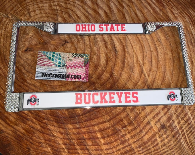 Ohio State Buckeyes License Crystal Sport Silver Frame Sparkle Auto Bling Rhinestone Plate Frame with Swarovski Elements Made by WeCrys