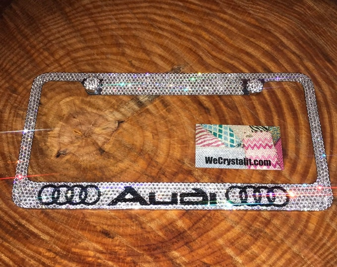 Audi Crystal Sparkle Auto Bling Rhinestone License Plate Frame Made with Swarovski Elements Made by WeCrystalIt