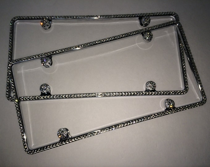 2 Clear Diamond on Silver Frame 1 Row Crystal Sparkle Auto Bling Rhinestone License Plate Frame with Swarovski Elements Made by WeCrystalIt