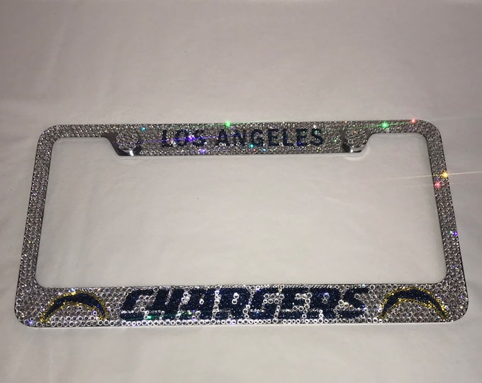 Chargers Football Crystal Sparkle Auto Bling Rhinestone  License Plate Frame with Swarovski Elements Made by WeCrystalIt