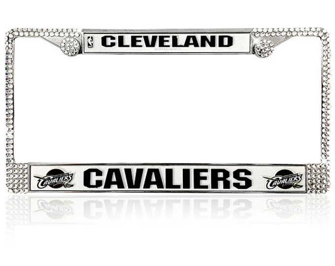 Cleveland License Crystal Cleveland Sport Silver Frame Sparkle Auto Bling Rhinestone Plate Frame with Swarovski Elements Made by WeCrystalIt