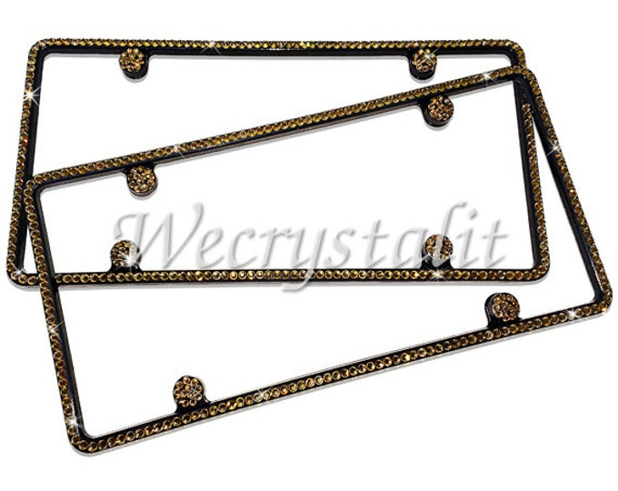 Set 2 Gold Topaz Black Frame 1 Row Crystal Sparkle Auto Bling Rhinestone License Plate Frame with Swarovski Elements Made by WeCrystalIt