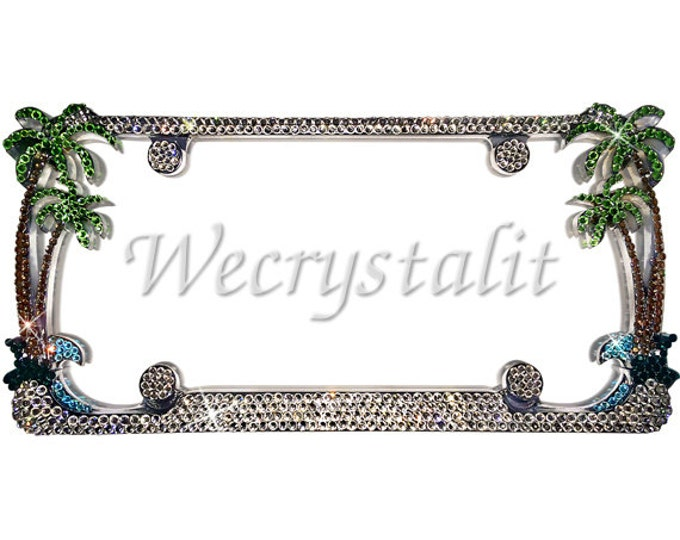 Palm Tree Crystal Sparkle Auto Bling Rhinestone  License Plate Frame with Swarovski Elements Made by WeCrystalIt