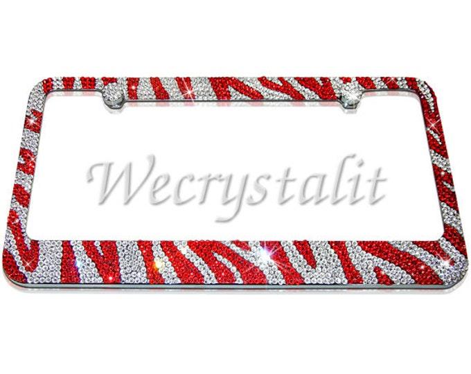 Zebra Crystal Sparkle Auto Bling Rhinestone  License Plate Frame with Swarovski Elements Made by WeCrystalIt