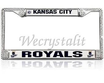 Royals License Crystal Kansas City Frame Crystal Sparkle Auto Bling Rhinestone  Plate Frame with Swarovski Elements Made by WeCrystalIt