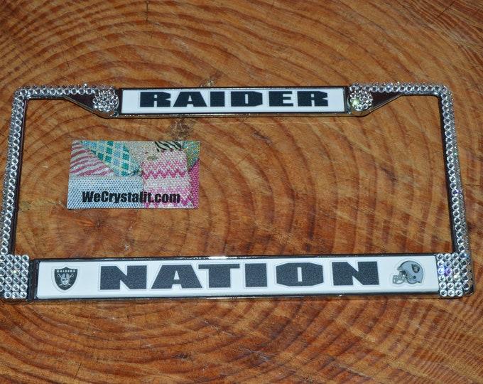 Raiders Nation License Jet Black Crystal Sport Silver Frame Sparkle Auto Bling Rhinestone Plate Frame with Swarovski Elements Made by WeCry