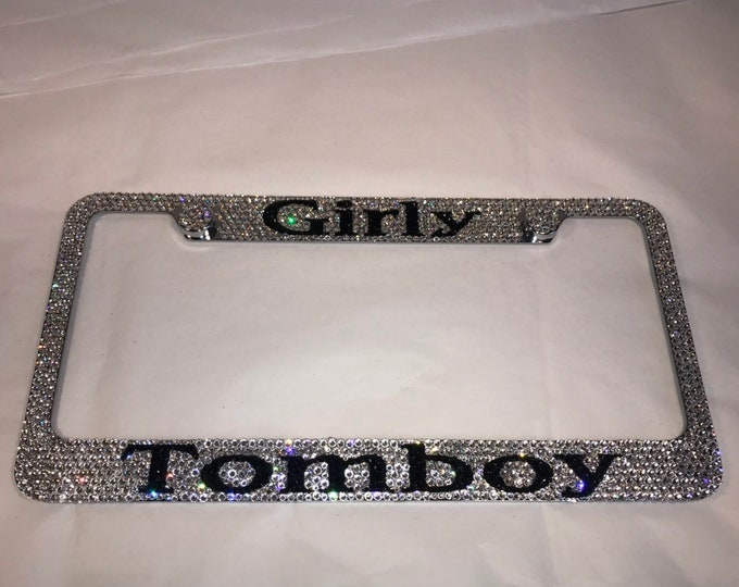 Girly Tomboy Crystal Sparkle Auto Bling Rhinestone  License Plate Frame with Swarovski Elements Made by WeCrystalIt