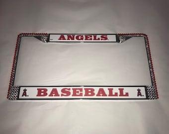 Angels Anaheim  Los Angeles License Crystal Sport Frame Sparkle Auto Bling Rhinestone Plate Frame with Swarovski Elements by WeCrystalit