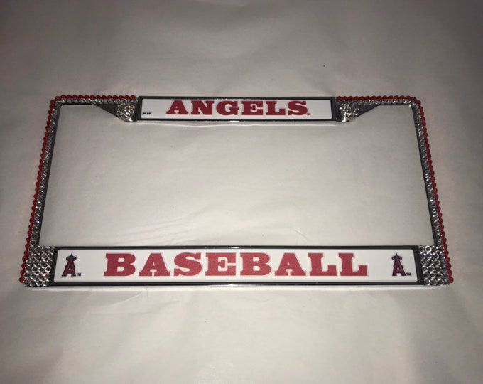 Angels Baseball License Crystal Sport Silver Frame Sparkle Auto Bling Rhinestone Plate Frame with Swarovski Elements Made by WeCrystalit