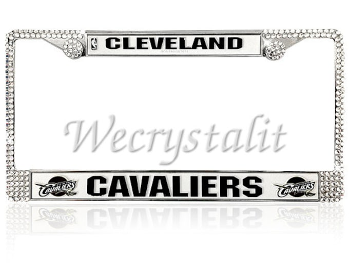 CAVALIERS License Crystal Sport Silver Frame Sparkle Auto Bling Rhinestone Plate Frame with Swarovski Elements Made by WeCrystalIt