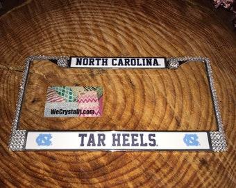 North Carolina Tar Heels License Crystal Sport Silver Frame Sparkle Auto Bling Rhinestone Plate Frame with Swarovski Elements Made by WeCrys