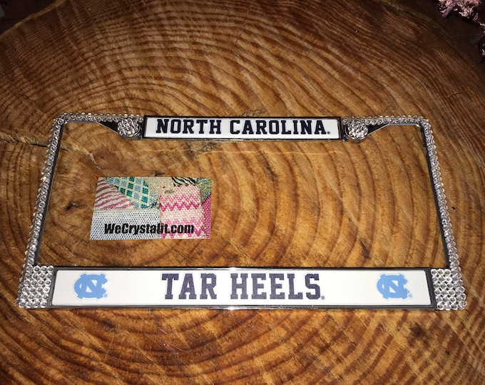 North Carolina Tar Heels License Crystal Sport Silver Frame Sparkle Auto Bling Rhinestone Plate Frame with Swarovski Elements Made by WeCrys
