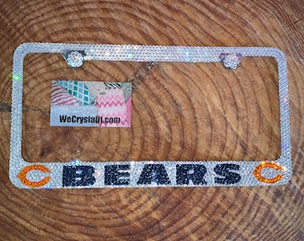 Chicago Bears Crystal Sparkle Auto Bling Rhinestone  License Plate Frame with Swarovski Elements Made by WeCrystalIt