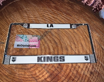 LA Kings License Clear anf Jet Crystal Sport Silver Frame Sparkle Auto Bling Rhinestone Plate Frame with Swarovski Elements Made by WeCrysta