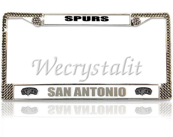 SPURS License Crystal SAN Antonio Sport on Silver Frame Sparkle Auto Bling Rhinestone Plate Frame with Swarovski Element Made by WeCrystalIt