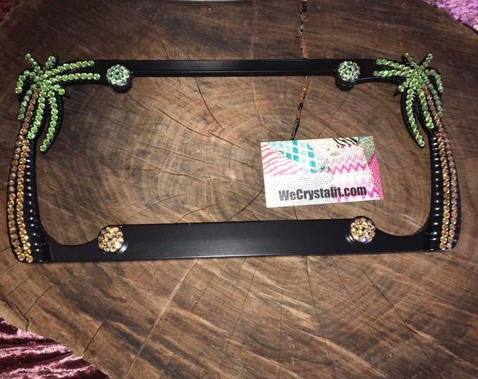 Only one 1 classic Color Palm Tree Sides Crystal Sparkle Auto Bling Rhinestone License Plate Frame Made by WeCrystalIt