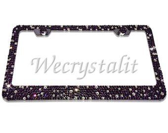 Amethyst Purple Crystal Sparkle Auto Bling Rhinestone License Plate Frame with Swarovski Elements Made by WeCrystalIt