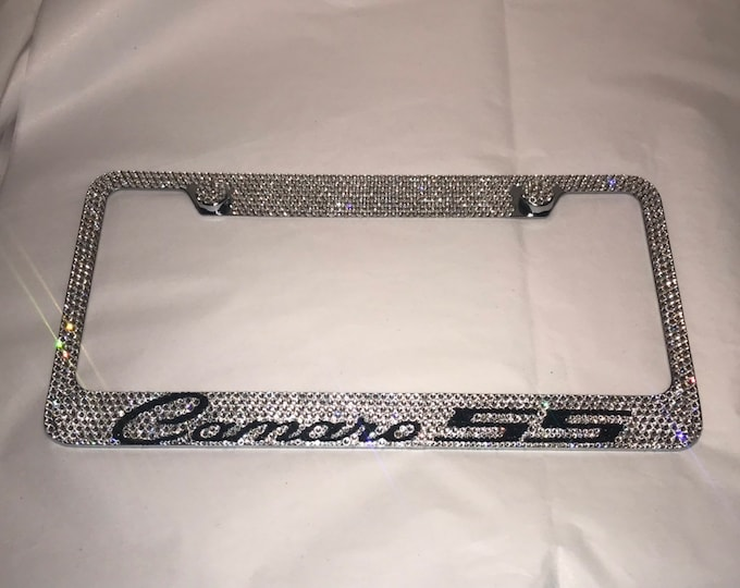 Camaro 55 Crystal Sparkle Auto Bling Rhinestone  License Plate Frame with Swarovski Elements Made by WeCrystalIt
